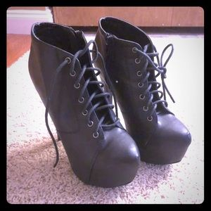 Black Lace Up Size 7 Heeled Ankle Booties